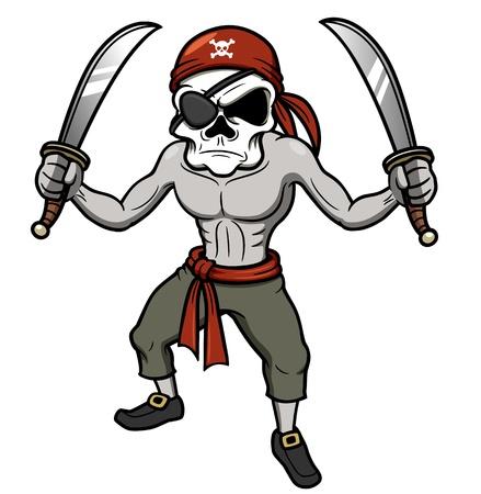 skull character: illustration of cartoon Pirate skull