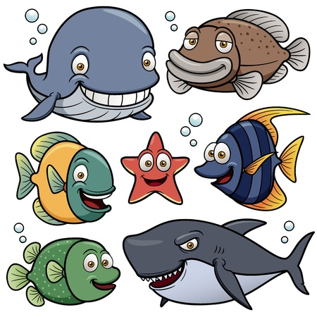 peces caricatura: Ilustraci�n vectorial de los animales de mar Collection