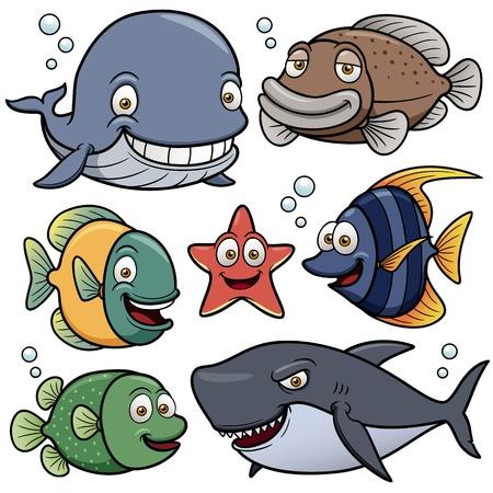 bunter fisch: Vektor-Illustration von Sea Animals Collection