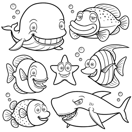 outline fish: illustration of Sea Animals Collection - Coloring book