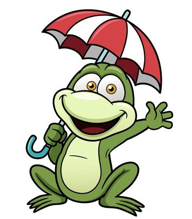 rana caricatura: Ilustración del vector de la rana celebración paraguas