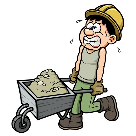 Vector illustration of Cartoon worker with wheelbarrow Vectores