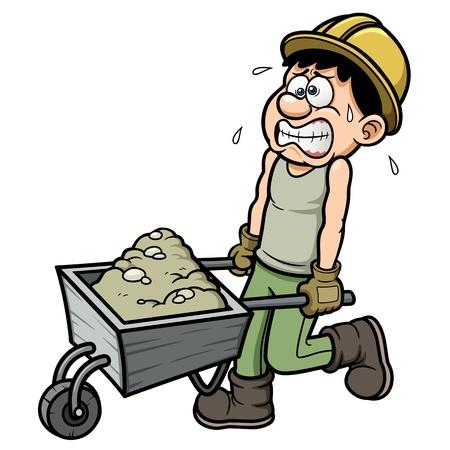 cartoon worker: Vector ejemplo de trabajador de dibujos animados con la carretilla