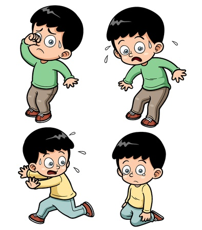 scared man: illustration of boy expression set Illustration