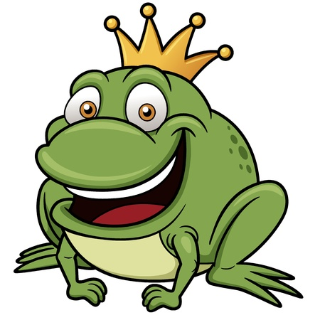 vector illustration of Cartoon frog prince Vector