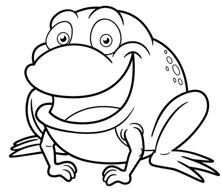 smiling frog: Vector illustration of frog cartoon - Coloring book Illustration