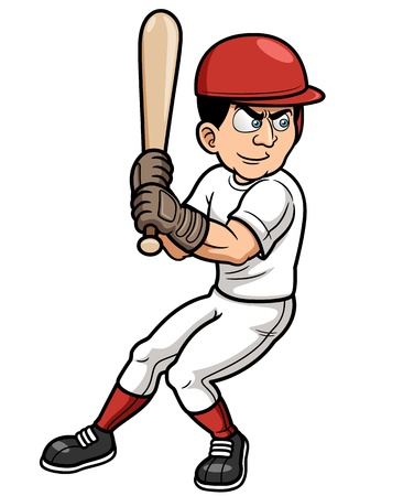 Illustration of Baseball Cartoon Player Vector