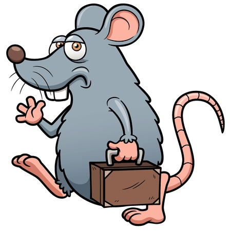 rata caricatura: Ilustración de la historieta de la rata salir Vectores