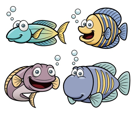 cartoon summer: Illustration of Sea fish set