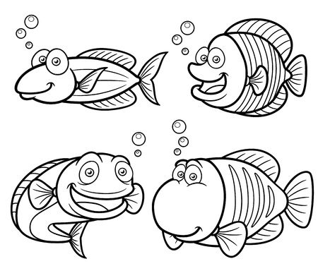 outline fish: Illustration of Sea fish set - Coloring book