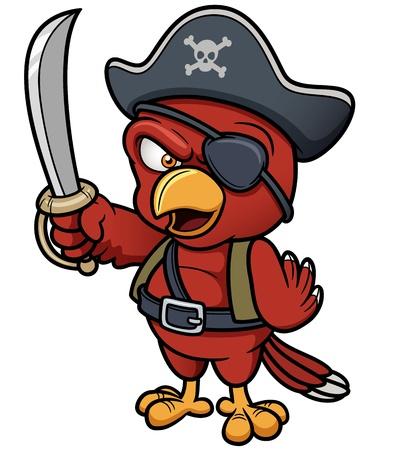 piratenhoed: Vector illustratie van Cartoon Papegaai van de piraat