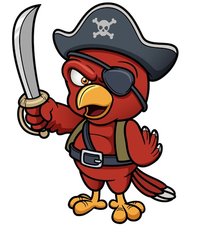 Vector illustration of Cartoon Pirate Parrot Vector