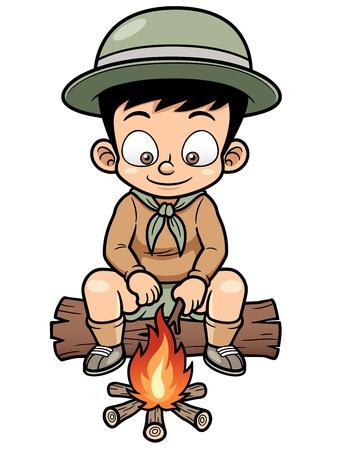 brandweer cartoon: illustratie van Boy camping