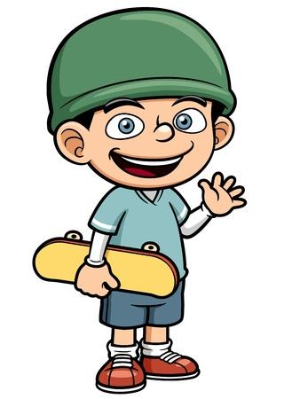 illustration of Boy holding Skateboard Stock Vector - 19258213