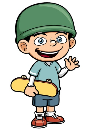 illustration of Boy holding Skateboard Stock Vector - 19258213