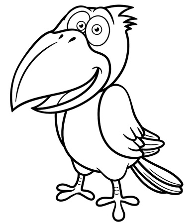 illustration of Cartoon crow - Coloring book