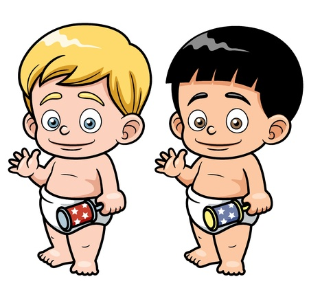 romper suit: illustration of Cartoon baby Illustration