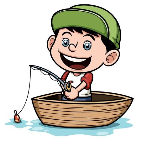 barca da pesca: Illustrazione del ragazzo di pesca in una barca