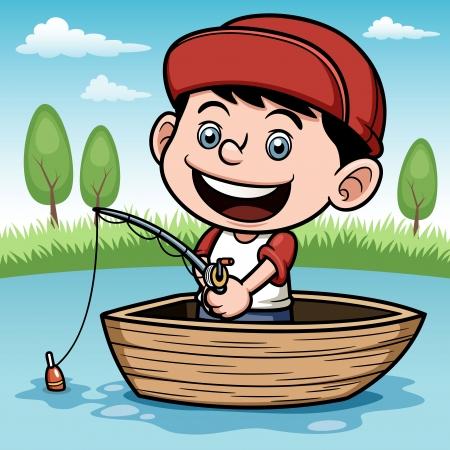 hengelsport: illustratie van de visserij van de jongen in een boot