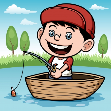 fishing pole: illustration of Boy fishing in a boat Illustration