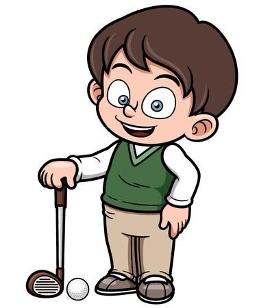 corsi di formazione: illustrazione del giovane giocatore di golf Vettoriali