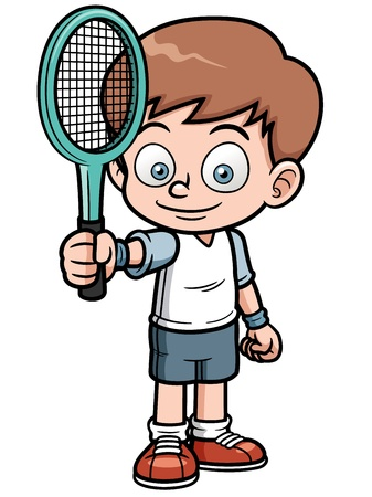 tennis shoe: illustration of Cartoon tennis player