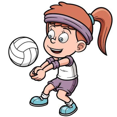 волейбол: Векторные иллюстрации молодых волейболист