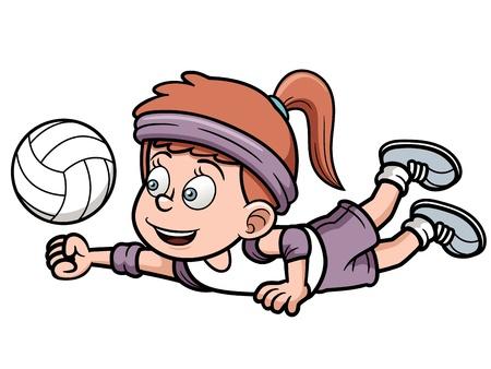 ballon volley: Vector illustration de la jeune volleyeuse