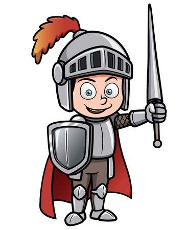 heroism: Vector illustration of Cartoon knight