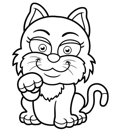 wiskers: Vector illustration of Cat cartoon - Coloring book Illustration