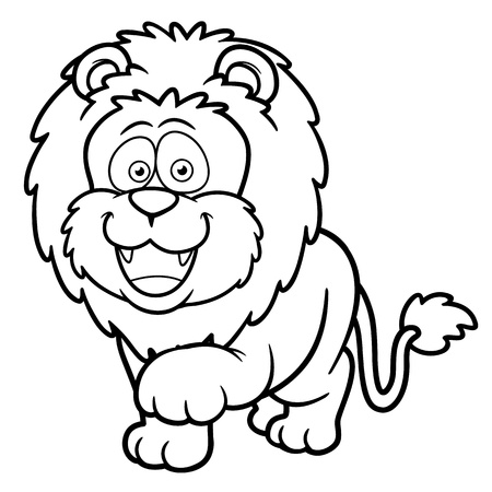 panthera: Vector illustration of Cartoon lion - Coloring book