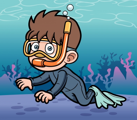 Vector illustration of Snorkeling kid Vector