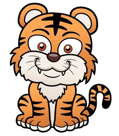 cute cat cartoon: Vector illustration of Tiger cartoon Illustration