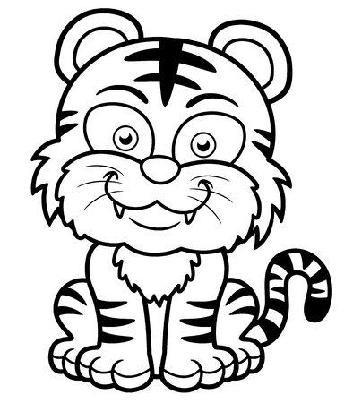tigre caricatura: Ilustraci�n del vector del tigre de dibujos animados - Libro para colorear