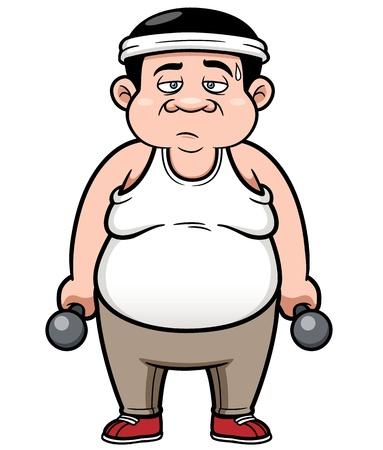 fat man: Ilustraci�n vectorial de Hombre gordo con pesas Vectores