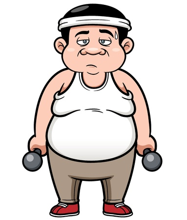 Vector illustration of Fat man with dumbbells Stock Vector - 19336604