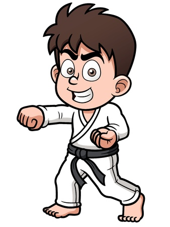 quickness: Vector illustration of Boy Karate Player Illustration
