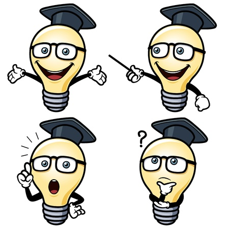 vector illustration of Cartoon light bulb Vector