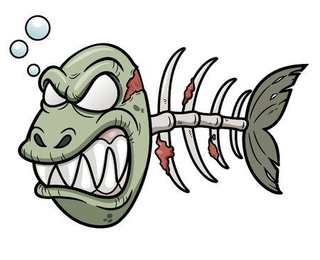 zombie: Vector illustration of Cartoon zombie fish Illustration