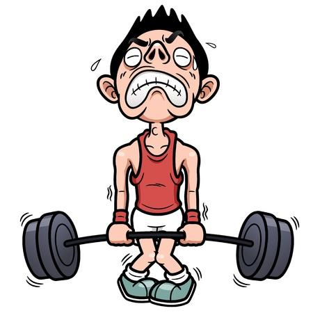 Ilustración vectorial de hombre trata de levantar un peso