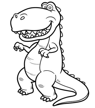 Vector illustration of cartoon dinosaur - Coloring book Stock Vector - 19373629