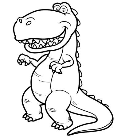 Vector illustration of cartoon dinosaur - Coloring book Stock Vector - 19373629