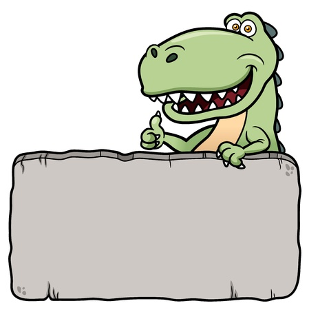 dinosaur: Vector illustration of cartoon dinosaur with rock Illustration