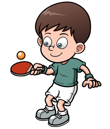 table tennis: illustration of cartoon table tennis player