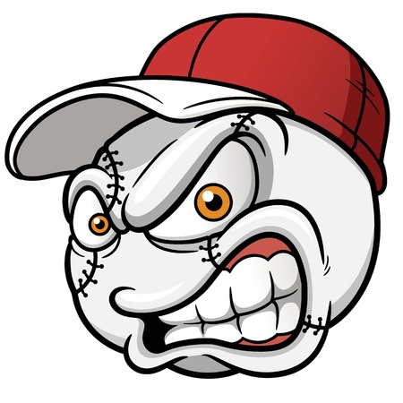 pelota caricatura: ilustraci�n de dibujos animados de la bola del b�isbol