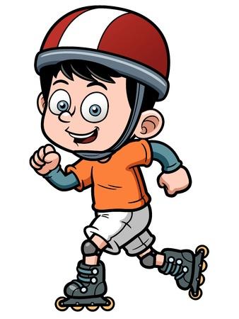 ni�o en patines: ilustraci�n de Roller Skating Boy Vectores