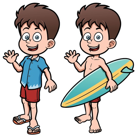 illustration of Boy Surfer with Surfboard Vector