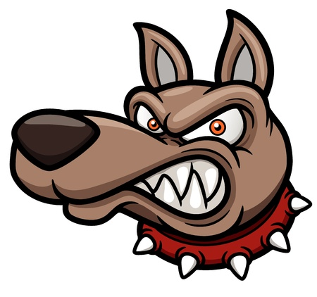 face guard: illustration of Angry cartoon dog