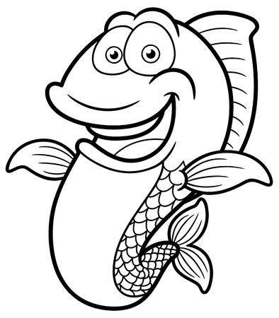 outline fish: illustration of Cartoon Happy fish - Coloring book