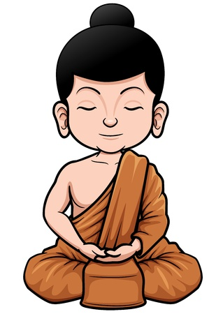 illustration of Buddhist Monk cartoon Vector